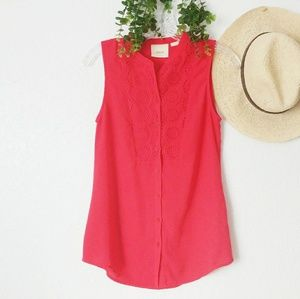 Maeve Lace Trimed Button Down Semi Sheer Tank Top